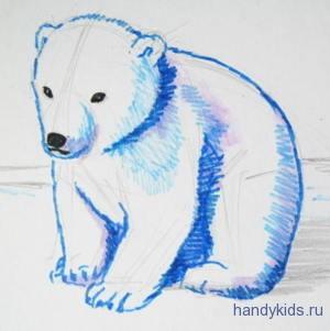 Рисунок белый медвежонок