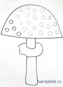 Нарисуем узор пятен на шляпке мухомора