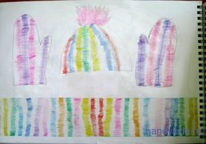 Рисунок шарф ,варежки и шапка