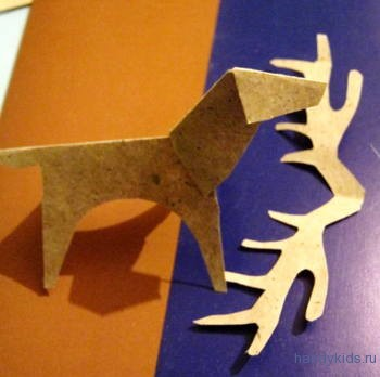 Этапы изготовления оленя из бумаги