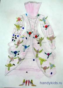 раскраска -платье для принцессы
