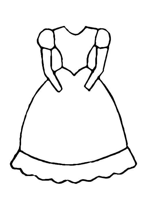Раскраска платье для принцессы на бал