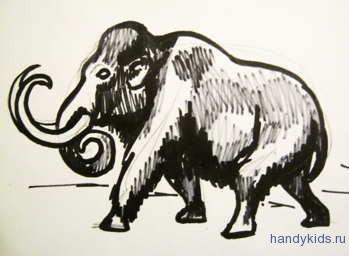 Рисунок мамонт 13