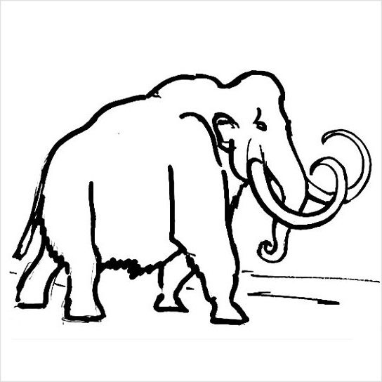 Раскраска мамонт -44
