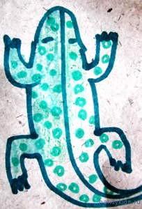 Выполняем раскраску Крокодильчик.