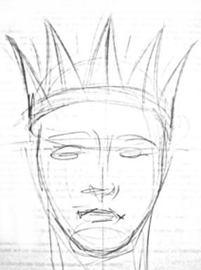 Корона на голове - рисунок