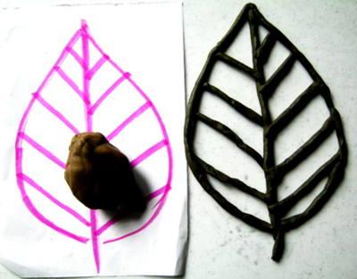 Лепим лист из пластилина