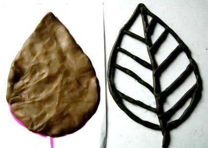 Как слепить лист растения из пластилина