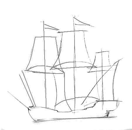 Урок поэтапного рисования парусника