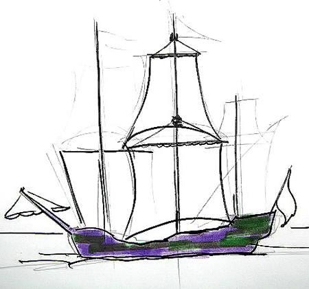 Нарисуем трёхмачтовый корабль