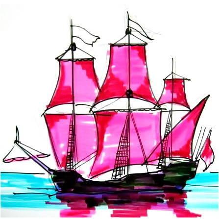 Парусный корабль -рисунок