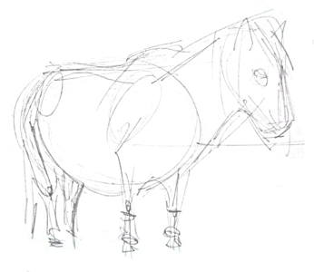 Набросок карандашом -пони