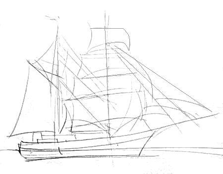 Корабль -рисунок карандашом