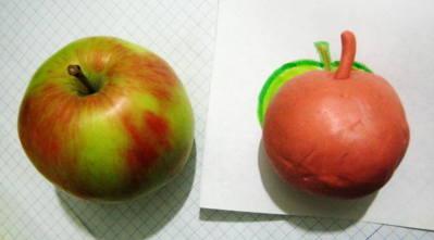 Лепка фрукты: яблоко и груша из пластилина