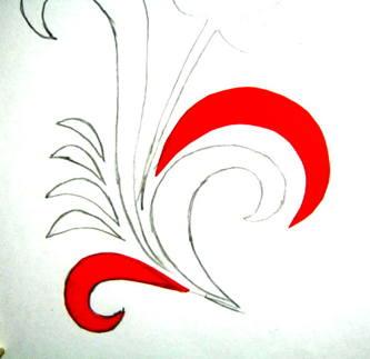 Аппликация хохломская роспись