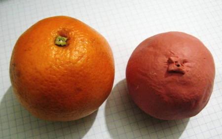 Лепка апельсин из пластилина