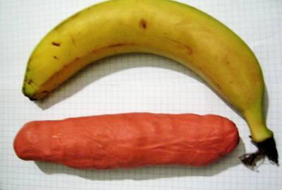 Лепка банан из пластилина 1