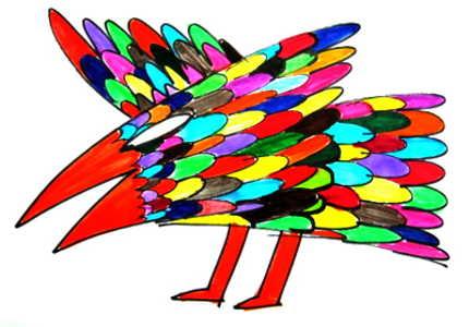 Рисунок сказочная птица.