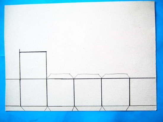 Выкройка-развёртка кубика из бумаги.