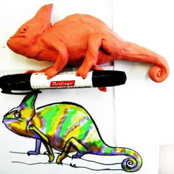 Пластилиновый хамелеон