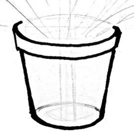 Рисунок цветочный горшок