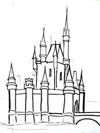 Рисуем замок с башнями