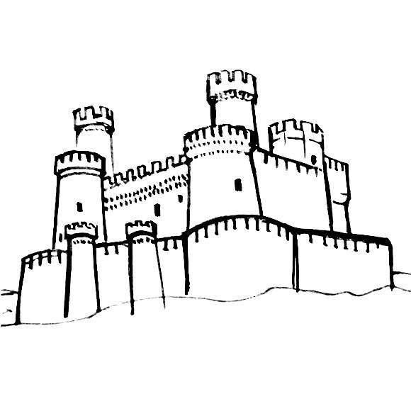 Как нарисовать замок или крепость поэтапно