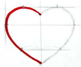 Рисуем сердечко поэтапно.