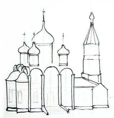 Урок поэтапного рисования церкви.