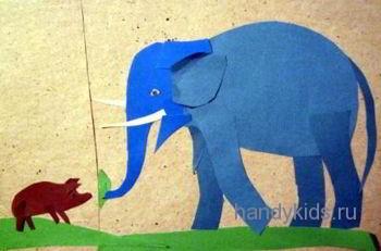 Иллюстрация к сказке про маленькую свинку и слона