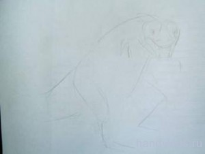 Эскиз к рисунку тиранозавра