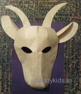 Поэтапно сделаем маску козы
