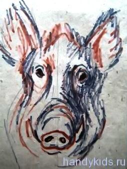 Голова кабана -рисунок
