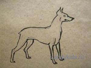 Рисованье собаки.