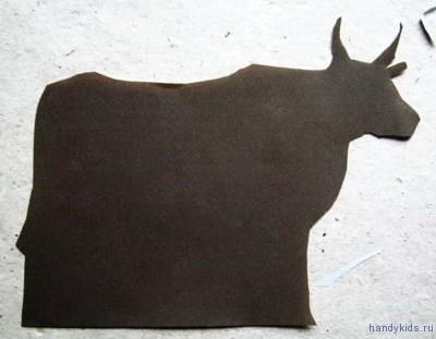 Силуэт коровы - поэтапное вырезание