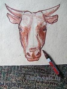 Как нарисовать голову коровы