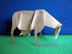 Корова  -поделка из бумаги