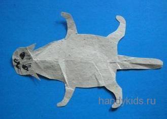 Выкройка  кошки из бумаги