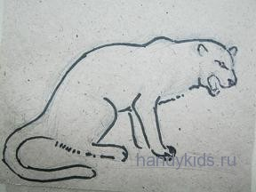 Фигура зверя нарисована.