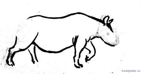 Поэтапный рисунок носорога