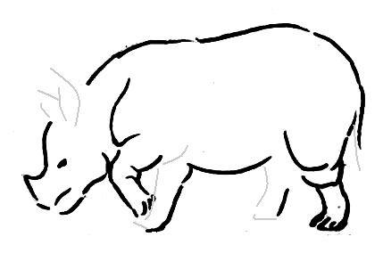 Поэтапный рисунок носорог
