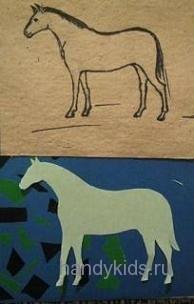 Рисунок и силуэт лошади
