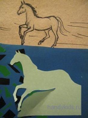 Вырежем силуэт скачущей лошади поэтапно