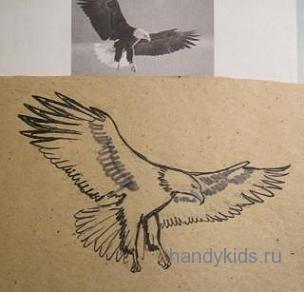 Как нарисовать летящего орла