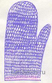 Штриховка-вязаная варежка