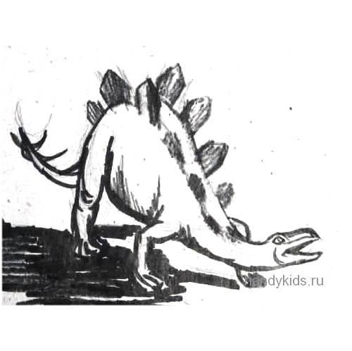Стегозавр рисунок с натуры -7