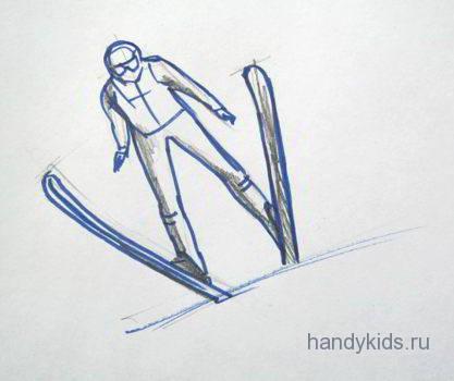 Как нарисовать прыжок на лыжах с трамплина.