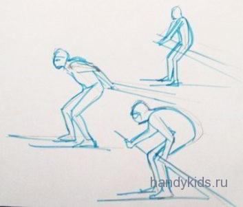 Рисуем лыжника в профиль