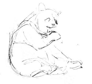 панда -эскиз карандашом