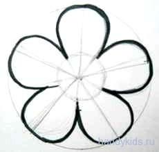 Трафарет цветка 5 лепестков